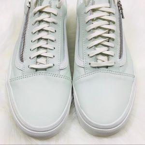 Vans Leather Old Skool mint color Zipper sneakers NWT